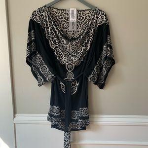 Black & white cowl neck tunic w/ sash belt
